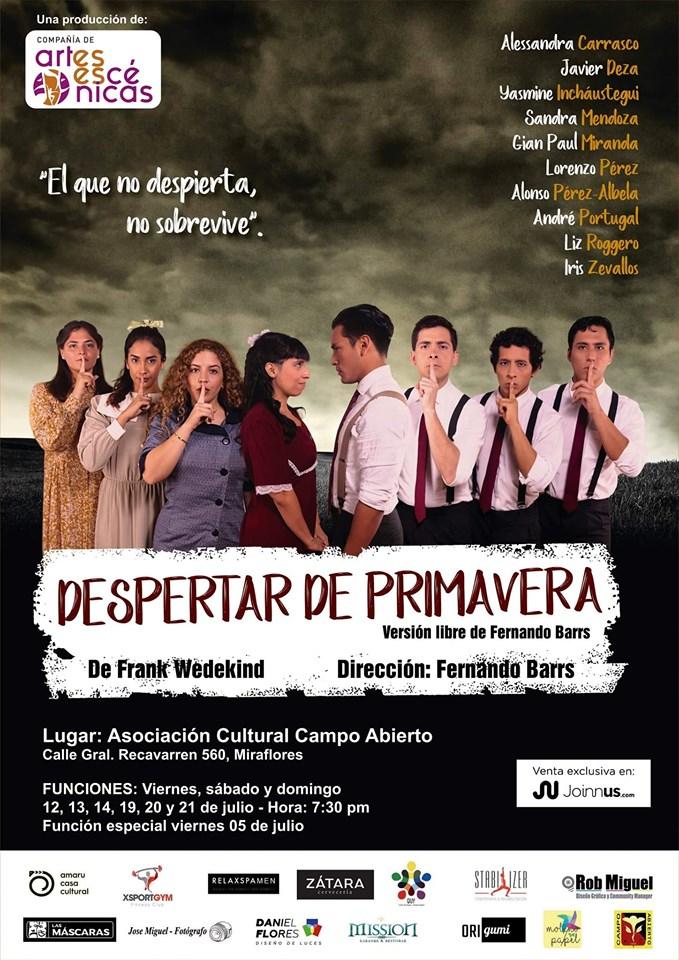 """Conoce las fechas, lugares y horarios de la presentación de """"Despertar de Primavera"""" en Lima - ArtesUnidas.com"""