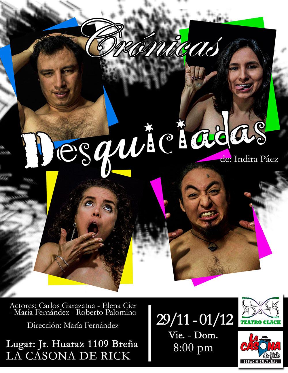 Crónicas desquiciadas obra de teatro humor sarcasmo reflexión - ArtesUnidas.com