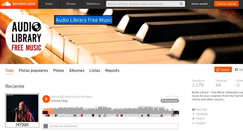 Audiolibrary Free Music de Soundcloud