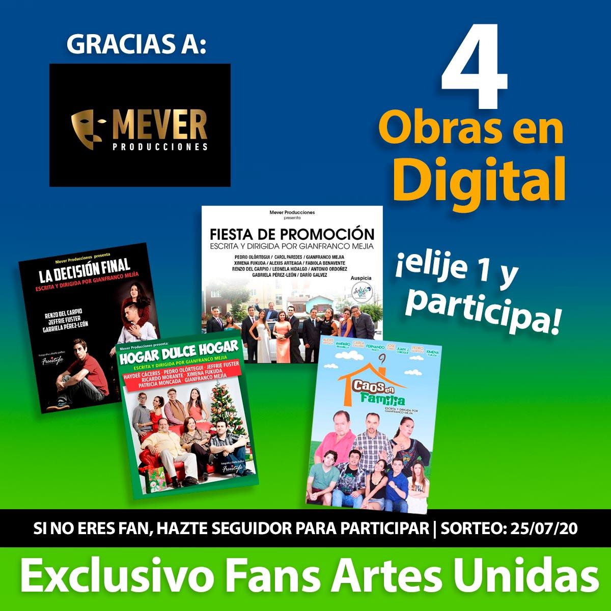 Sorteo de 4 obras de teatro en digital - de Mever producciones