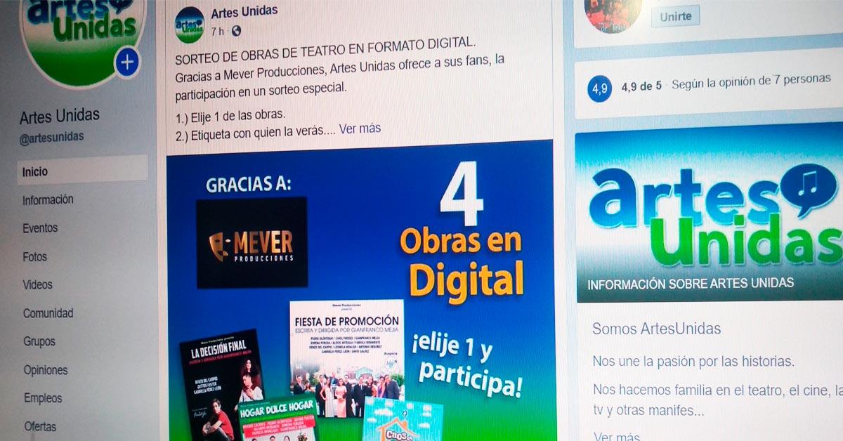 Sorteo de Obras de teatro digitalizadas de Mever Producciones - ArtesUnidas